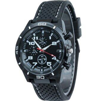 MEGA Sport Quartz Fashion F1 Racing Luxury Watch Military Army Wristwatches หรูหรานาฬิกาข้อมือ สายหนัง กันน้ำ รุ่น MG0017 (White)