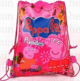 กระเป๋านักเรียน peppa George แม่หมูลูกหูรูดกระเป๋าเป้สะพายหลังซื้อโรงพิมพ์ถุงกันน้ำชายหาดท่องเที่ยวที่ไม่ทอผ้าถุงของขวัญ (สี) [ ป, ล.]-ในประเทศ