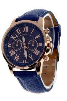 นิวแฟชั่นสตรีเลขโรมันคล้ายคลึงผลึกนาฬิกาข้อมือหนังเทียมสีน้ำเงิน