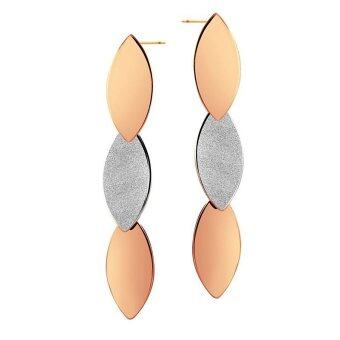 555jewelry ต่างหูแบบก้านเสียบ รูปทรงใบไม้ 3 ใบ รุ่น MNC-ER120-C5 - Steel/Pink Gold