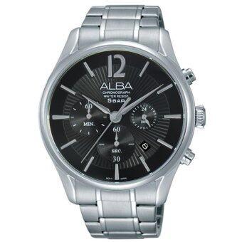 ALBA Chronograph นาฬิกาข้อมือผู้ชาย สีดำ/เงิน สายสแตนเลส รุ่น AT3879X1
