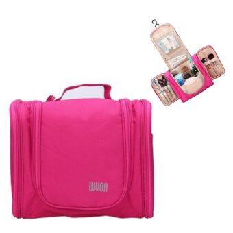 TravelGear24 Travel Check Bag กระเป๋าจัดระเบียบ กระเป๋าจัดเก็บอุปกรณ์ในห้องน้ำ กระเป๋าเครื่องสำอาง แบบมีด้านข้าง Travel Toiletry Bag Cosmetic Makeup Storage (Pink/ชมพู)
