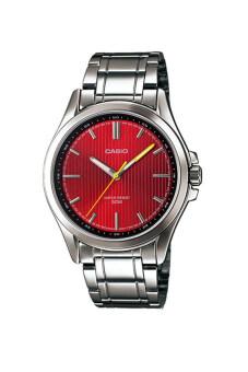 Casio Standard นาฬิกาข้อมือ สายสแตนเลส รุ่น MTP-E104D-4AVDF - Silver/Red
