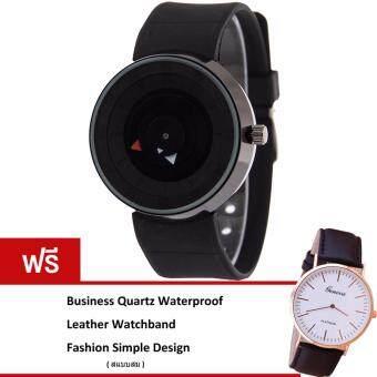 MEGA Popular Simple Unique Design Waterproof Creative Fashion Quartz Watches หน้าปัดกลมเรียบ สายซิลิโค กันน้ำ รุ่น MG0021 (Black)(ฟรี Business Quartz Watch Super Slim Leather Strap Watch)(Black)