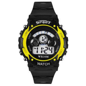YBC นาฬิกาดิจิตอล Led ผลึกคนปลุกนาฬิกาข้อมือกันน้ำวันกีฬาสีเหลือง