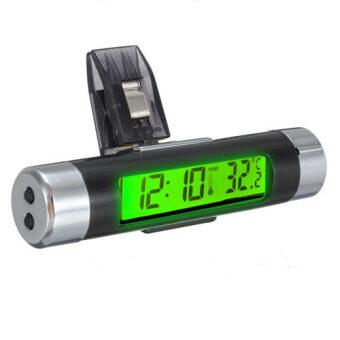 รถระบายอากาศแบบหนีบติดอยู่บนนาฬิกาอิเล็กทรอนิกส์+เครื่องวัดอุณหภูมิดิจิตอลแอลซีดีแสดงผลสีเขียว