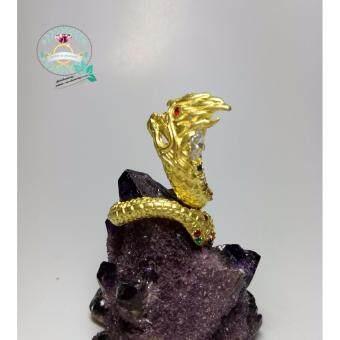 hindd แหวนพญานาค ประดับพลอยนพเก้า ตัวเรือนทองเหลือง