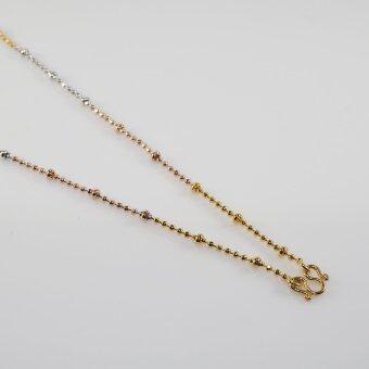 Elise's สร้อยคอสามกษัตริย์ ชุบไมครอน ทอง เงิน นาก ลายอิตาลี่ (ไข่ปลา-ตุ่ม) ความยาวรวม 45 cm