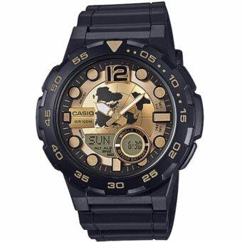 CASIO Standard นาฬิกาข้อมือผู้ชาย สีดำ/ทอง สายเรซิน รุ่น AEQ-100BW-9AVDF