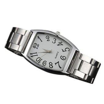 Bluelans เหลี่ยมของผู้หญิงคล้ายคลึงนาฬิกาควอทซ์เลขอารบิคผสมเงิน