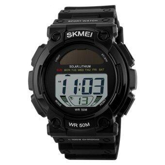 2016 คุณภาพสูง SKMEI 1126 มัลติฟังก์ชั่นนาฬิกาผู้ชายนาฬิกากันน้ำพวกกีฬากลางแจ้งแสงอาทิตย์ led นาฬิกาดิจิตอลนาฬิกามนุษย์ (สีดำ)