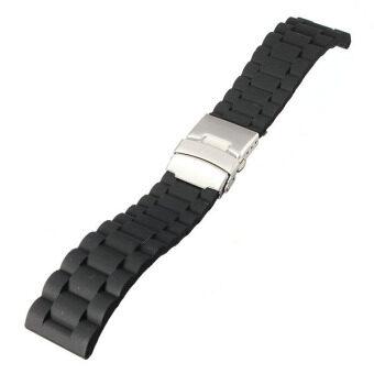 22มม.ยางซิลิโคนสายนาฬิการัดด้วยเข็มขัดโลหะกันน้ำใช้