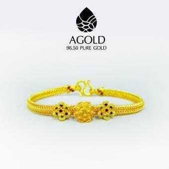 AGOLD ST14 สร้อยข้อมือดอกไม้ลงยาสุโขทัย ทองแท้ 96.50% น้ำหนัก 1 บาท ฟรี กล่องเคร่องประดับ