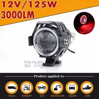 DTG ไฟตัดหมอก LED (วงแหวนสีส้ม) สำหรับรถจักรยานยนต์ 125W 3000LM U7 (ขอบสีดำ) -(จำนวน 1ชุด)