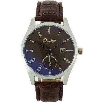 MEGA Quartz Waterproof Leather Watchband Date Calendar Wristwatch Luxuary Style หรูหรานาฬิกาข้อมือ สายหนัง กันน้ำ รุ่น MG0024 (Blue/Brown)