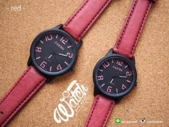 Feifan นาฬิกาคู่ รุ่น Stencil สายหนัง PU สีแดง Rose Red (แพคเกจ 2 เรือน)