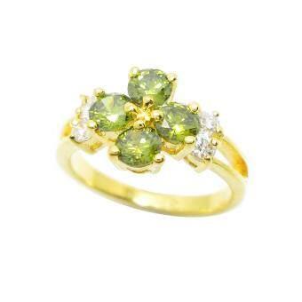 Tangems แหวนดอกไม้พลอยสีเขียวส่องประดับเพชรข้าง รุ่น 2392 (ทอง/สีเขียวส่อง/เพชร)