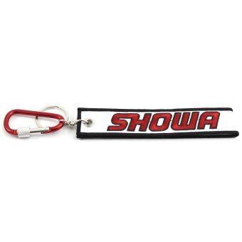 """KEY CHAIN พวงกุญแจผ้า ปักลาย """"SHOWA"""" (สีขาว-แดง) พร้อมตะขอเกี่ยว"""