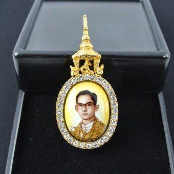 Pearl Jewelry เข็มกลัดในหลวง ครองราชย์ พื้นเหลือง PK18 งานช่างไทย