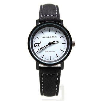 Fashion นาฬิกาข้อมือชาย,หญิง ระบบ Quartz เรือนโลหะสีดำ สายหนังสักหลาด หน้าปัดคลาสสิก รุ่น R9-887
