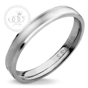 555jewelry เครื่องประดับ ผู้หญิง แหวน สแตนเลสสตีล - แหวนเกลี้ยง ผิวทรายละมุน สีสตีล รุ่น MNC-R723-A