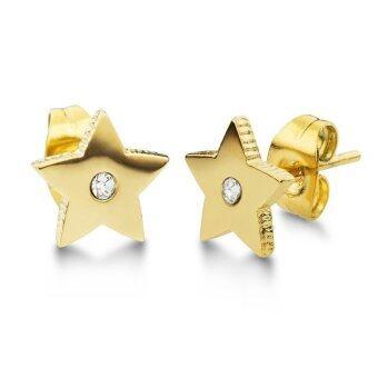 555jewelry ต่างหู สแตนเลสสตีล - ต่างหูก้านเสียบรูปดาวปัดเงาสวยงาม (สี - ทอง) รุ่น MNC-ER528-B