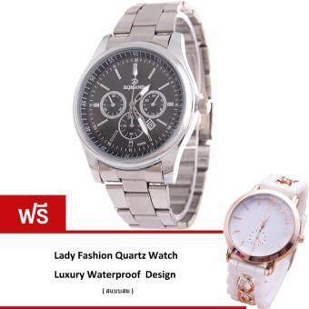 MEGA Calendar Wristwatch ปฏิทินนาฬิกาข้อมือผู้หญิง-ชาย สาย Stainless รุ่น MG0005 (Black/Silver)(ฟรี Lady Fashion Quartz Watch Waterproof Luxury Design)(Silver)