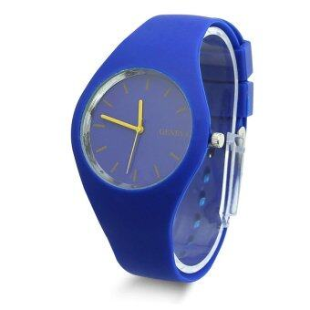 สาวน่ารักแข็งแรงสายซิลิโคนเจลสีหญิงสาวธรรมดา ๆ ผลึกกีฬานาฬิกาข้อมือ-สีน้ำเงิน