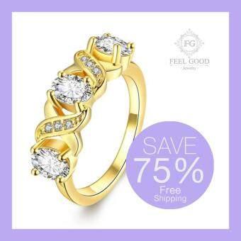Feel Good Jewelry แหวนทองคำ 24k ประดับเพชร CZ รุ่น FGR0396