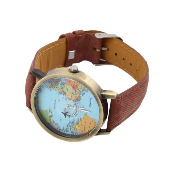 Harga OH Women Men Fashion Vintage Casual World Map Dial Analog Quartz Wrist Watch Coffee