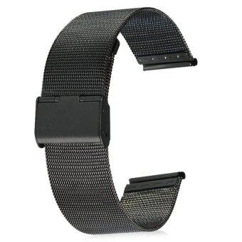 22มม.สร้อยข้อมือสายนาฬิกาสเตนเลสตาข่ายรัดแทนสำหรับผู้ชาย (สีดำ)