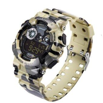 แฟชั่นของพวกทหาร 2016 led นาฬิกาดิจิตอลนาฬิกาข้อมือนาฬิกากันน้ำพวกกีฬาช็อก (ปกปิดสีเหลือง)