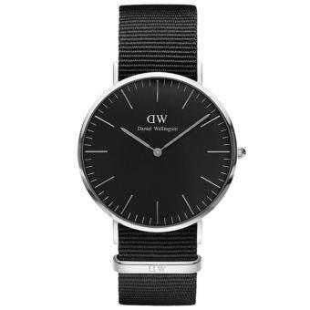 Daniel Wellington DW00100149 Classic Black Cornwall Horloge 40mm นาฬิกาข้อมือ แฟชั่น ผู้ชาย สายไนล่อน สีดำ Men Watch - Silver Case Black Strap
