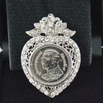 Pearl Jewelry เข็มกลัดในหลวง เหรียญ 2 บาท PK13 งานช่างไทย สีเงิน(Gold)