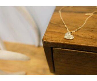 Meaningful Jewelry สร้อยคอนำโชค [Love : ความรัก] สร้อยพร้อมจี้รูปหัวใจ