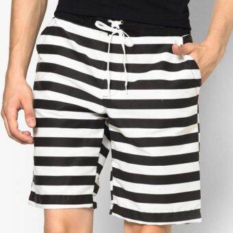 Play Hard กางเกงขาสั้น ลำลอง ลายขวาง สีขาว ดำ