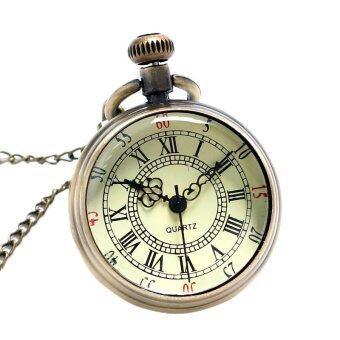 YBC บรอนซ์เลขโรมันกระเป๋านาฬิกาควอทซ์ที่มีจี้สร้อยคอโซ่