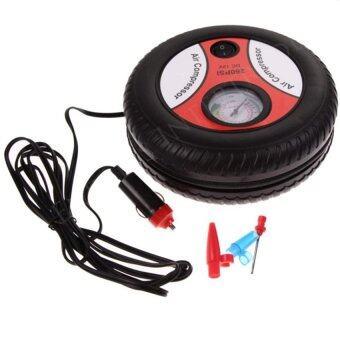 ปั้มลมไฟฟ้าสำหรับรถยนต์ แบบพกพา รูปล้อรถAir Pump 260PSI 12 V(Black-Orange) 1pcs