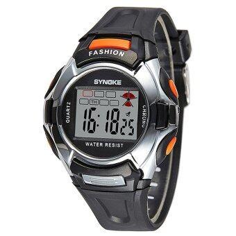 นักกีฬาเด็กสายนาฬิกาข้อมือแบบดิจิทัลอิเล็กทรอนิกส์ซิลิโคนสำหรับเด็กหนุ่มสาว-สีดำ