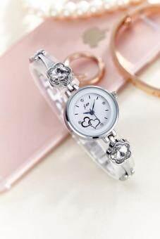 แฟชั่นสตรีแบรนด์เกาหลีโหมดแท้นักเรียนสแตนเลสสร้อยข้อมือคริสตัลเพชรชุดนาฬิกาข้อมือควอทซ์ - นานาชาติ
