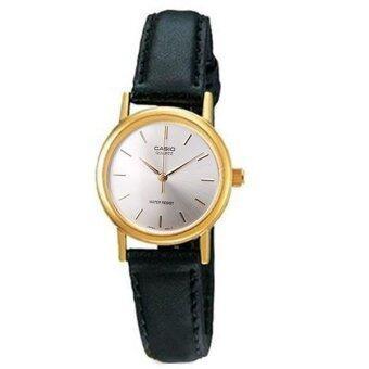 Casio Standard นาฬิกาข้อมือผู้หญิง - สีเงิน สายหนังสีดำ รุ่น LTP-1095Q-7A