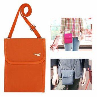 TravelGear24 กระเป๋าใส่หนังสือเดินทาง กระเป๋าพาสปอร์ตพร้อมสายสะพาย Travel Visa Passport Bag( Orange/สีส้ม )