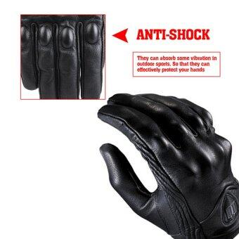 Harga 2016 Best Quality Men Motorcycle Gloves Outdoor Sports Full Finger Short Leather Gloves without hole M(black)