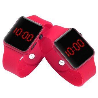 PA-HY LED นาฬิกาแฟชั่นกีฬาบุคลิกภาพรัดซิลิโคนสีแดง 802112