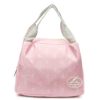 ฉนวนเก็บความร้อนกระเป๋าถือกล่องอาหารกลางวันกระเป๋าปิคนิคบรรจุถุง Bento สีชมพูผีเสื้อ - intl