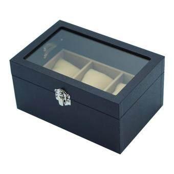 Smartshopping กล่องใส่นาฬิกา ขนาด 3 ช่อง สีดำ ในเบส