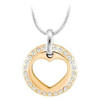 555jewelry จี้วงกลม ด้านในฉลุลายหัวใจ รุ่น MNP-012T-C (Pink Gold)