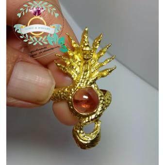 hindd แหวนพญานาคราช 9 เศียร ประดัยเพชรพญานาค ตัวเรือนทองเหลือง