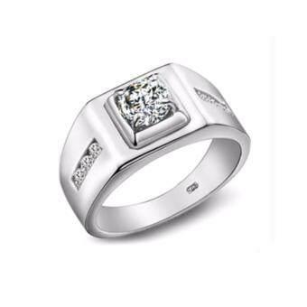 TANITTgems แหวนเงินชายประดับเพชรสวิสน้ำงาม