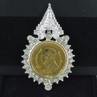Pearl Jewelry เข็มกลัดในหลวง เหรียญ 2 บาท PK20 งานช่างไทย